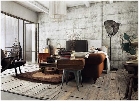 desain interior bergaya rustic